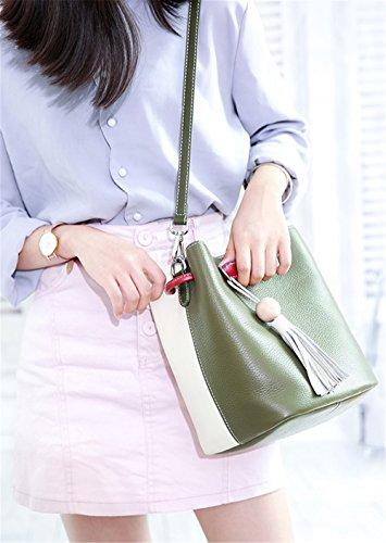 Xinmaoyuan Borse donna borsette in cuoio Messenger Borsa a Tracolla Estate Prima Classe Vacchetta colore Hit Wild fiocco semplice benna Ladies Bag,verde Verde