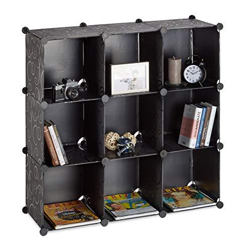 Relaxdays 10021956_46 scaffale componibile 9 scomparti, divisorio, plastica, aperto, fai da te, 95 x 95 x 32 cm, nero