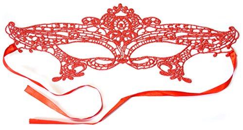 PRESKIN - Spitzenmaske für Karneval, venizianische Verführung aus Spitze für Fasching, rote Maske für Verkleidung und ()