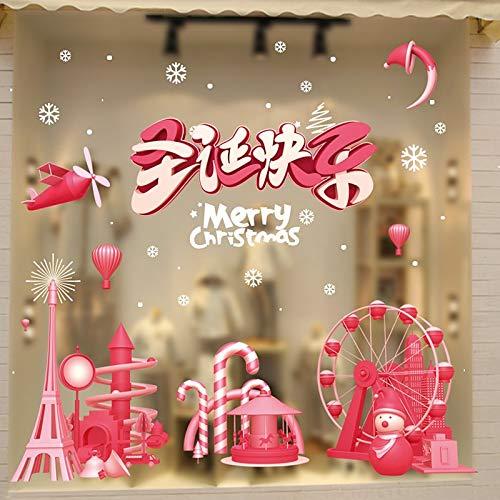 HAPPYLR Weihnachtsdekoration Szene Anordnung Weihnachtsbaum Alter Mann Kreative Geschenk Glas Fenster Aufkleber Set, Weihnachten Fenster StickerHyc90