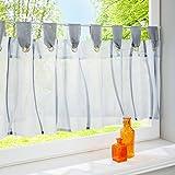 HongYa Scheibengardine transparenter Voile Bistrogardine mit Schlaufen Wellen Muster H/B 45/90 cm Grau
