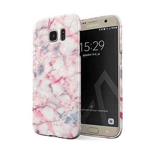 BURGA Hülle Kompatibel mit Samsung Galaxy S6 Edge Handy Huelle Beere Marmelade Pink Rosa Süßigkeiten Bunt Marmor Marble Mädchen Dünn, Robuste Rückschale aus Kunststoff Handyhülle Schutz Case Cover