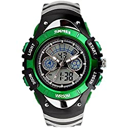 SKMEI Analogue-Digital Kids Watch Led Week Alarm Chronograph Boys Girls Sport Wristwatch Green