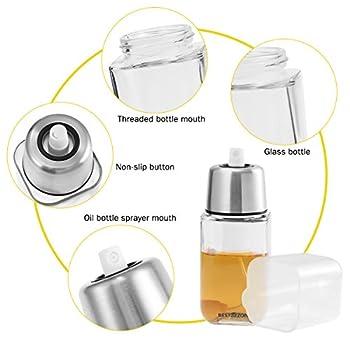 besto nzon Vaporisateur d'Huile Oil Pulvérisateur bouteille en verre avec huile Vinaigre de brosses pour cuisson, salade, BBQ, barbecue, grillades, pâtisserie, 200ml