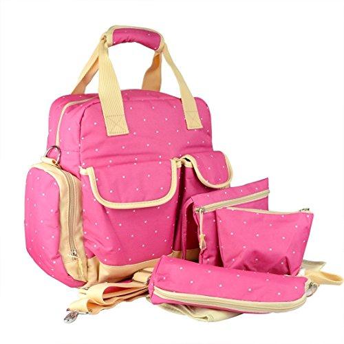 Preisvergleich Produktbild Starcrafter Multifunktions Leichtes Wickeltasche Designer mit Baby Wickelunterlage Pink Tasche mit weißen Pünktchen