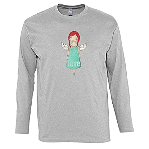 Hommes T-Shirts manches longues avec Cute Angel Girl with White
