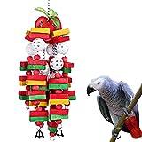 youngfate Perroquet À Mâcher des Blocs De Bois Jouet Noeuds Bloc À Mâcher des Jouets Oiseaux Perchoirs en Bois Coloré Bloc De Ficelle Attirer Les Animaux Attention