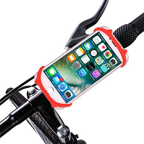 HSKB Handyhalterung Fahrrad Silikon Handyhalter fürs Fahrrad Motorrad, Anti-Shake Fahrrad Handy Halterung Universal für iPhone Samsung Huawei & 4,0-6,0 Zoll Smartphone (Rot)