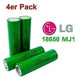 4X LG INR18650-MJ1 Akku 3500mAh 3,7v Lithium-Ionen 18650 Batterie - Ideal für Sub-Ohm Dampfer E-Zigarette Flat Top Flachpol, Menge: 4 Stück