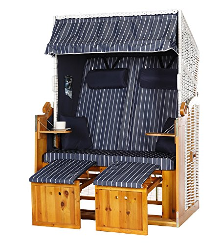 Mer Baltique Corbeille de plage volllieger montée couleur rouge, bleu, vert, gris, fauteuil-cabine résistant aux intempéries Rotin tressé bois en pin lasuré Idéal pour terrasse et balcon (Bleu Blanc)
