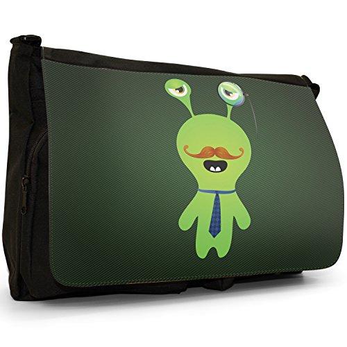 Funny Freak Hipster Trendy-grande, colore: nero Monsters-Borsa di tela a tracolla, per scuola, Borsa per computer portatile Nero (Green Monster With Monocle)