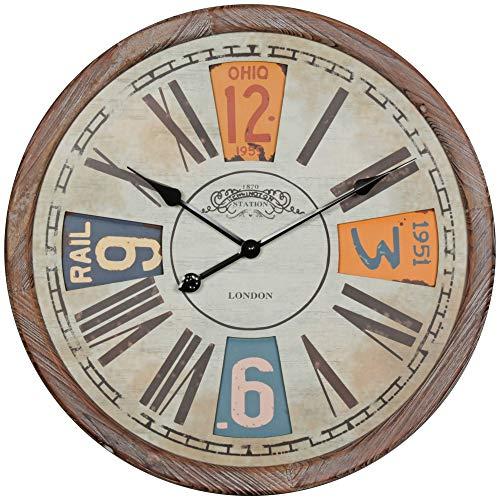 Dastro Design Deko Vintage Wanduhr XXL 60 cm groß Retro Dekouhr Uhr Holz Metall (Motiv London RÖMISCH/ARABISCHE ZIFFERN)