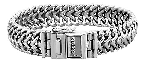 """KUZZOI """"Buddha"""" Silber-Armband für Herren, handgefertigtes Panzer-Armband aus echtem, massiven 925er Sterling Silber, luxuriöses Herren-Armband mit Kuzzoi-Gravur, 15mm breit, 120g schwer 335108-021"""