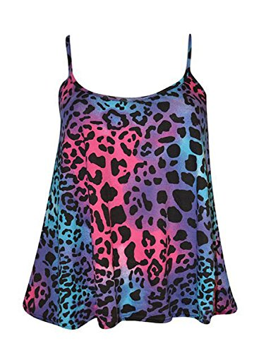 Friendz Trendz-Womens Plus Size Multi Stampa cinghietti Cami swing Bassiera COLORFULL LEOPARD