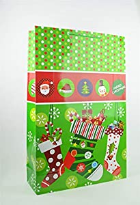 Shatchi 7167-GIFT-BAG-GREEN-XXL - Bolsa de regalo de Navidad (17 cm, 74 cm, 49 cm, XXL), color verde