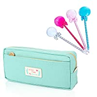 Mavis's Diary Student Pen Pencil Case Mint Green Canvas Coin Purse Pouch Cosmetic Makeup Stationery Bag Case with 4 Colour Fun Cute Ballpoint Pen