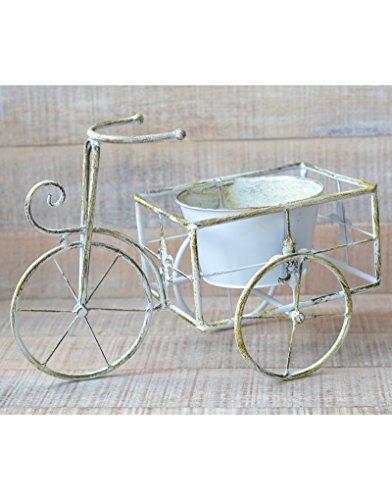 Macetero de Forja Bicicleta Edición Vintage Blanco Rozado Decoración Terraza Jardín Hogar y Más