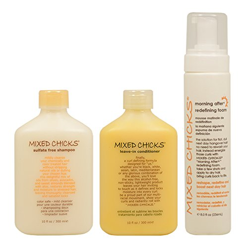 Mixed Chicks Leave In Conditioner (Mixed Chicks Sulfate Free Shampoo & Leave-in Conditioner 10oz & Morning After Redefining Foam 8oz Set by Mixed Chicks)