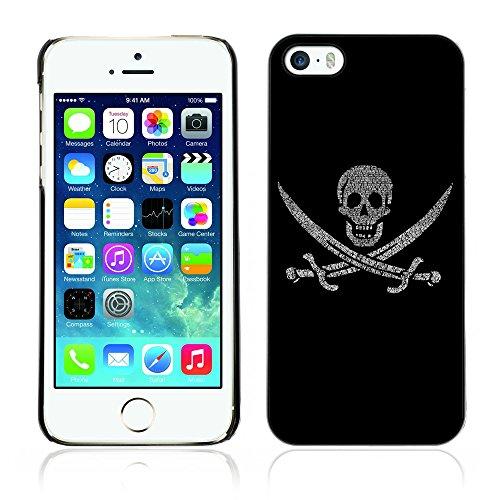 Graphic4You Pirate Flag with Skull Made of Words Design Harte Hülle Case Tasche Schutzhülle für Apple iPhone 5 und 5S Design #10