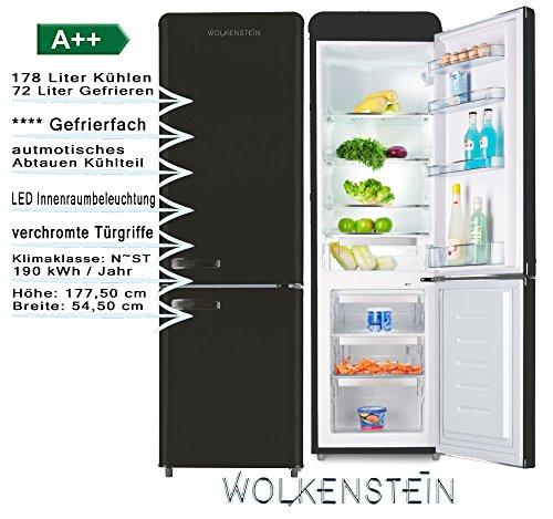 Wolkenstein KG250.4RT B A++ Kühl-/Gefrierkombination, schwarz