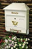 Briefkasten, groß XXL, Premium-Qualität, verzinkt, pulverbeschichtet Walmdach W/w weiß schneeweiß snow white Zeitungsfach Zeitungsrolle Postkasten