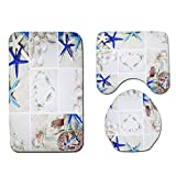 Decdeal 4Pcs Summer Conch Starfish Mats Bath Mat Shower Curtain Toilet Cover Pedestal Mat