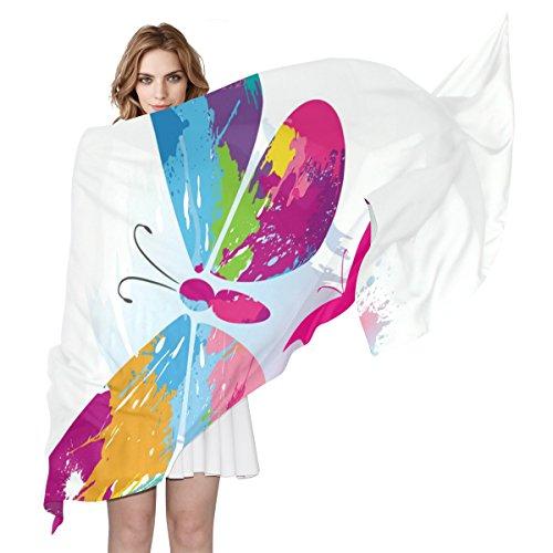 Coosun Schmetterlinge und Linie Bürsten Seidenschal leichte lange Schal Schal Wrap für Frauen (Schmetterling A-linie)