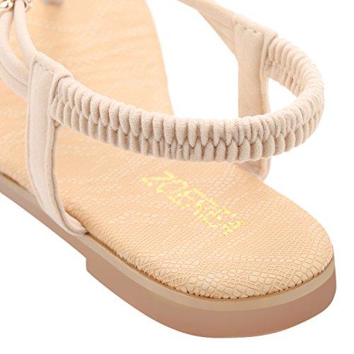 ZOEREA Damen Sandalen Schuhe Knöchelriemen Roman Geflochtene T-Strap Gladiator Sandalen Flats Thong Sandalen Sommer Schuhe Strand Flip Flop Hausschuhe - 5