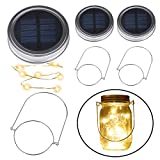 Solar Mason Jar Licht, BizoeRade 2 Pack 10 LED Jar Fee Licht Gläser Led Licht Wasserdichte Glas Hängeleuchte Lichterkette für Garten Party Dekoration (Warmweiß)