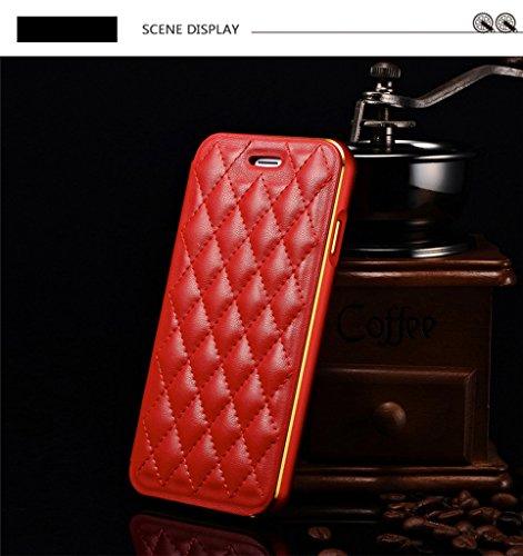 DBIT Luxe Véritable Cuir Flip Case Push Pull Réseau du diamant Coque avec Aluminium Métal Frame Étui pour Apple iPhone 6 Housse iPhone 6s Phone Sacs Beige Rouge
