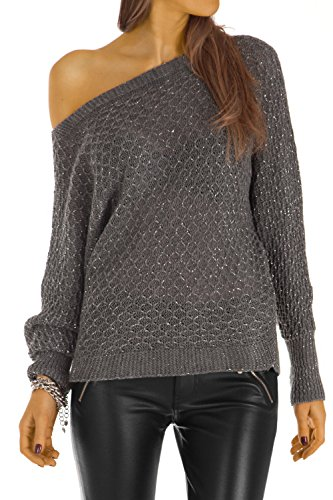 Bestyledberlin pull-over femme, pull-over aux manches chauve-souris t30z Gris