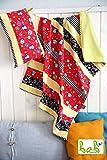 Set Babydecke mit Kissen für Mädchen/Jungen in Rot/Gelb mit Eulen, Kuscheldecke, Patchworkdecke