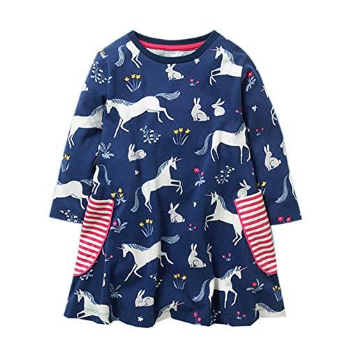 Mooler Mädchen Kleid Baumwolle Casual Langarm Cartoon T-Shirt Kleider