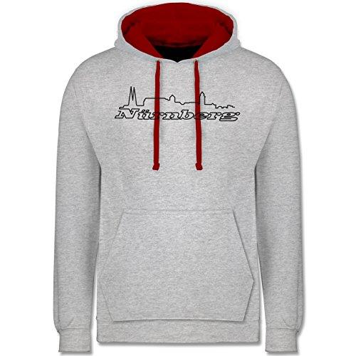 Skyline - Nürnberg Skyline - Kontrast Hoodie Grau Meliert/Rot