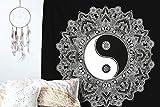 Raajsee Schwarz und Weiß Yin Yang Ombre Wandteppich Mandala Queen (210x220cms) / Indisch Psychedelic Bohemian Hippie Wandbehang / Indischer Boho Wandtuch Hippie Decke / Indien baumwolle Bohemian Mehrfarbige Tuch