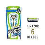 Dorco Pace 6 Plus Razor for Men: Ultra-sharp six blade Design – Pivoting Head for Maximum Coverage – Built-In Fine Sculpting Trimmer – Lubrication Strip with Aloe and Vitamin E – 6 Blades + 1 Handle