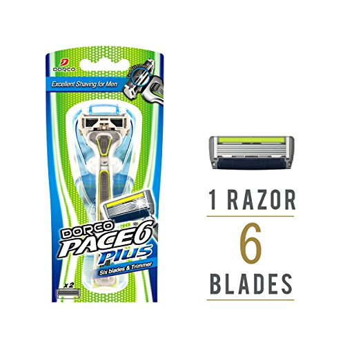 dorco-pace-6-razor-for-men-worlds-first-six-blade-design-pivoting-head-for-maximum-coverage-built-in