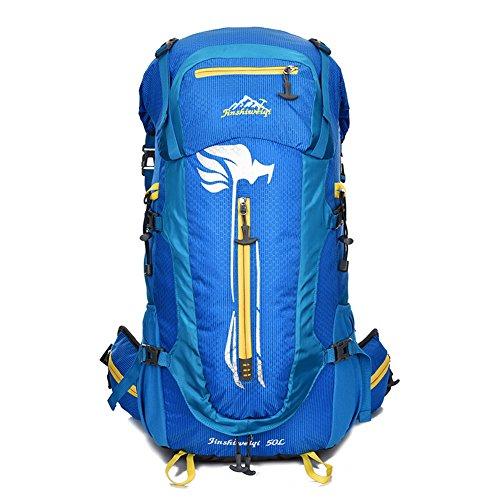 OSOPOLA groß 50L Wander Zelten Outdoor Sport innerer Rahmen Rucksack Wasserbeständigkeit Tagesrucksack Reisen Racksuck für Neu Damen Blau