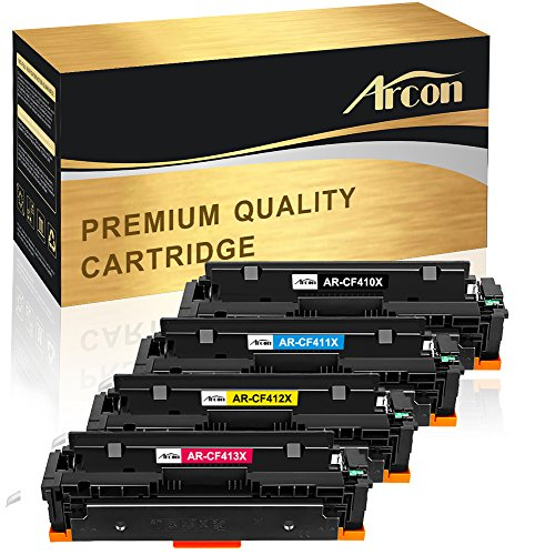 Arcon 4er Set Kompatibel für HP 410A HP 410X CF410A CF410X CF411X CF412X CF413X HP Color Laserjet Pro MFP M477fdw M477fdn M377dw M452nw M452dn M452dw M477fnw M477 M377 M452 FDW FDN DW DN Toner Drucker
