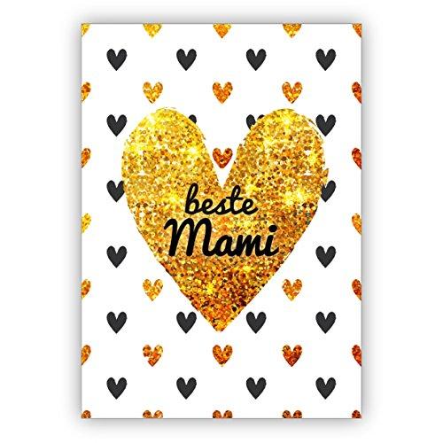 Herzige Glückwunschkarte zum Muttertag/ Muttertagskarte mit vielen Herzen: beste Mami