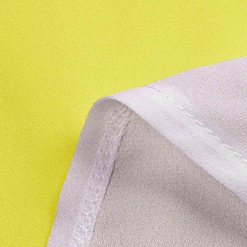 TWIFER Damen Farbblock Chiffon Kurzarm Bluse Shirts Tunika Sommer Tops (L, Gelb) - 4