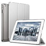 ESR iPad 2/3/ 4 Hülle, Auto Aufwachen/Schlaf Funktion Wickelfalz PU Ledertasche mit Durchschaubar Rückseite Schutzhülle für iPad 2 3 4 (Grau)