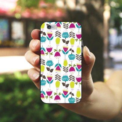 Apple iPhone X Silikon Hülle Case Schutzhülle Tulpen Flower Muster Silikon Case schwarz / weiß