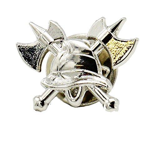 Feuerwehr-Pin zum anstecken Silber Motiv gekreuzte Axt und Feuerwehrhelm Geschenk Ehrungen Beförderungen sehr edel wirkend