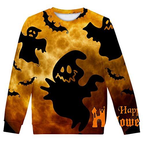 LILIGOD Sweatshirt Bluse Frauen Herbst Winter Pullover 3D Halloween Druck Langarmshirts Lose Bequem Poloshirts Mode O-Ausschnitt Langarm Pullover Poloshirts Wild Sweatshirts -