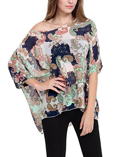 DJT Femme T-shirt en Mousseline de soie Manches 3/4 Chauve-souris en Fleur Cover up Ete Bleu