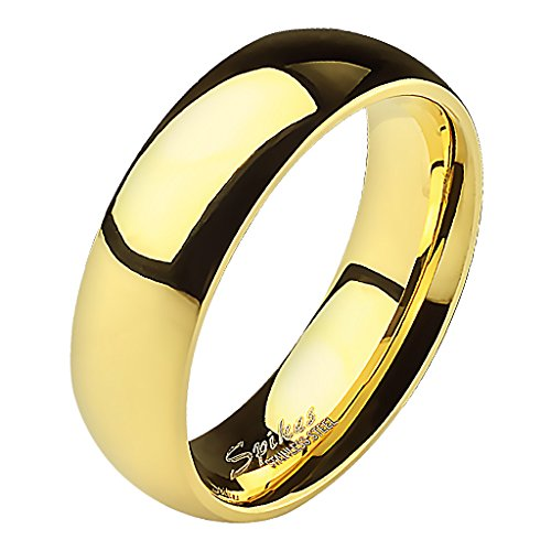 Mianova Band-Ring Edelstahl Herrenring Damenring Partnerring Trauring Verlobungsring Damen Herren Gold Größe 60 (19.1) Breit 5mm (Gold Damen Ehering)