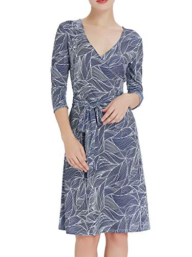Women's Faux Wrap Casual Dress A Line V-Neck 3/4 Sleeve(XL,White Navy Blue )