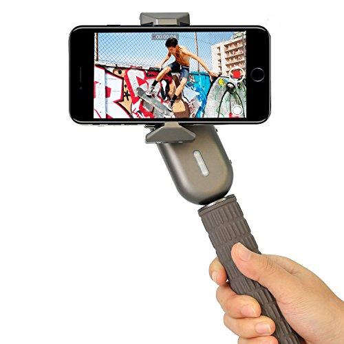 del giunto cardanico stabilizzatore selfie stick–1-axis video stabilizzatore per smartphone iPhone Samsung Galaxy LED luce di riempimento give manico corto di Wewow Fancy specchietto retrovisore (grigio)