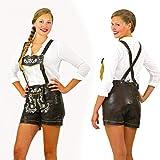 Unbekannt Braune Damen Glatt- Lederhose Größe 42 inklusive verstellbarer Hosenträger